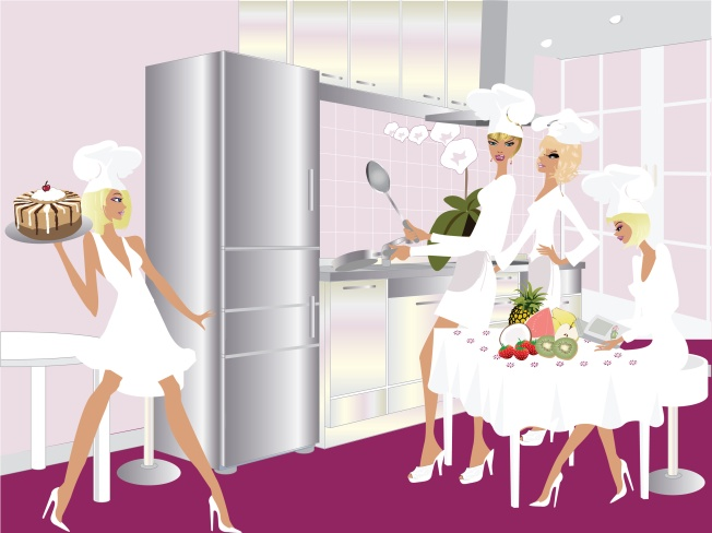 Modern Kitchen and Women Chef