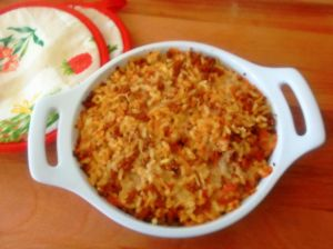 baked rice with meat